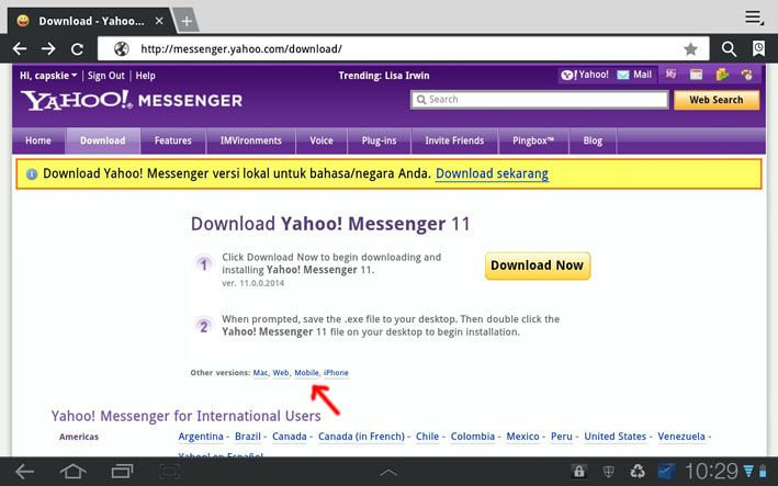 Download - Yahoo Messenger - Samsung Galazy Tab 10 1